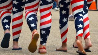 Women wearing stars-and-stripes leggings
