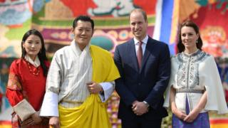 The Duke and Duchess of Cambridge with Bhutan's King Jigme Khesar Namgyel Wangchuck and his wife Queen Jetsun Pema
