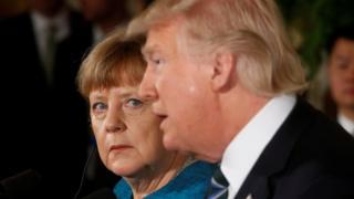Almanya Başbakanı Angela Merkel ve ABD Başkanı Donald Trump