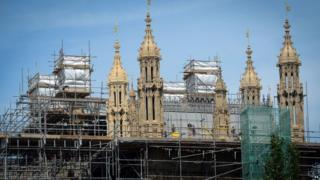 June 2015: scaffolding on the Houses of Parliament