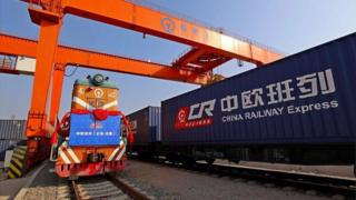 Chinese train leaving Yiwu for Europe on 3 Jan 2017