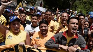 Manifestantes opositores