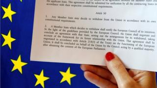 A woman holding Article 50 in front of the EU flag