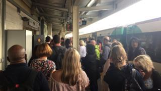 Passengers on a train platform