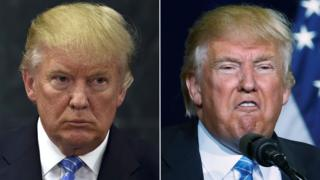 Donald Trump in Mexico City (left) and Phoenix (right)