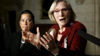 Canadian Indigenous Affairs Minister Carolyn Bennett and Justice Minister Jody Wilson-Raybould