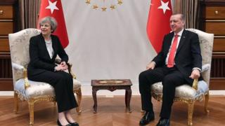 Prime Minister Theresa May meeting with the President of Turkey Recep Tayyip Erdogan at the Presidential Palace in Ankara, Turkey.