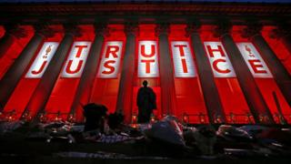 St George's Hall in Liverpool illuminated following a special commemorative service to mark the outcome of the Hillsborough inquests