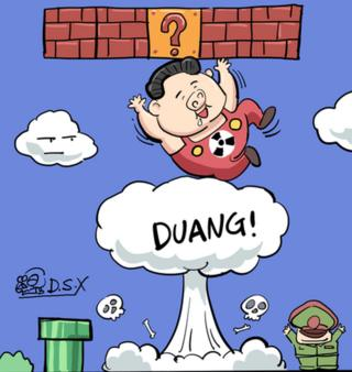 Cartoon of Kim Jong-un riding hydrogen bomb club