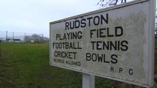 Rudston playing fields sign