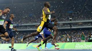 Usain Bolt luego de ganar la final de los 100 metros en río 2016