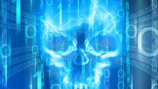 A skull over computer code
