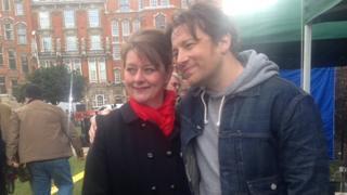 Leanne Wood and Jamie Oliver