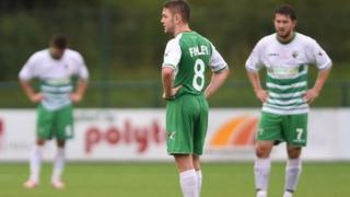 The New Saints players during their Champions League tie against Videoton