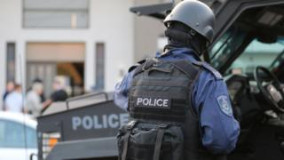 Tactical police officer on the scene of Wednesday's dawn raids in the western Sydney region