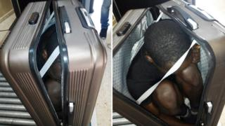African migrant hidden in suitcase - pic from Spanish Civil Guard
