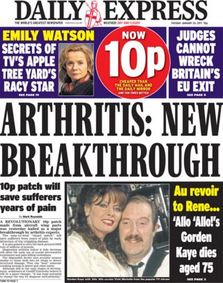Daily Express front