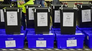 Ballot boxes waiting to be counted during last year's Scottish independence referendum