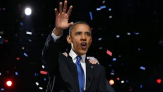 US President Barack Obama delivers his victory speech after being re-elected for a second term at McCormick Place November 7th, 2012 in Chicago, Illinois.