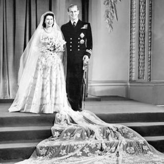Princess Elizabeth and Lt Philip Mountbatten at Buckingham Palace after their wedding ceremony