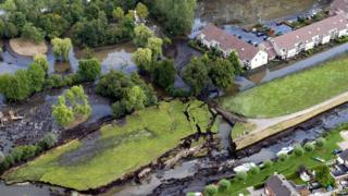 A 2003 picture showing flooding in the town of Wilnis, the Netherlands