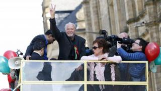 George Galloway celebrating his victory in the 2012 Bradford West by-election