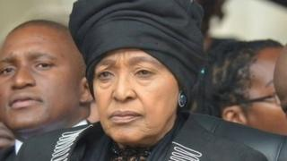 Winnie Madikizela-Mandela at Nelson Mandela's memorial service in December 2013
