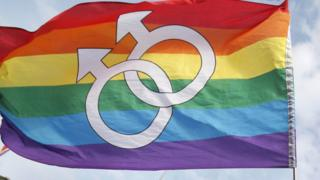 Two linked male symbols are seen on a rainbow flag in this extreme close-up