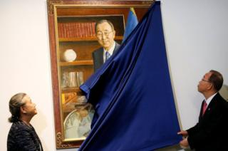 Outgoing United Nations Secretary General Ban Ki-moon and his wife Yoo Soon-taek unveil his official portrait at United Nations headquarters in New York City