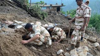Indian soldiers search for survivors after landslide in Uttarakhand state - 2 July handout