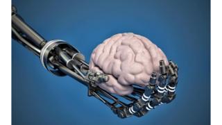 Robot hand holding brain