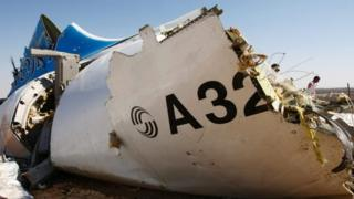 A piece of wreckage of the Russian plane in Sinai, Egypt
