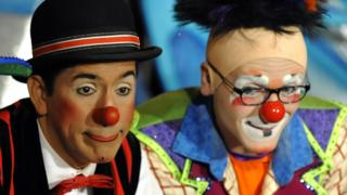 Clowns from the Ringling Bros. and Barnum & Bailey circus