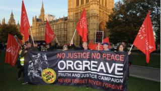 Campaigners from the Orgreave Truth and Justice Campaign on College Green, London,