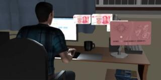 A screengrab from an animated video on the story shows a man at a computer with yuan notes being transferred onto the gift card
