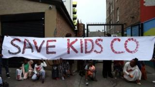 A protest about the closure of Kids Company