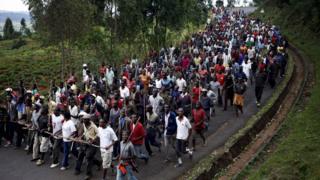 Protesters against Burundi President Pierre Nkurunziza march towards the town of Ijenda, Burundi (File photo)
