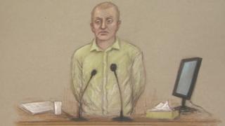 Court drawing of Jon Harbinson