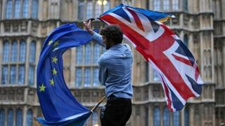 Man holding Union Jack and EU flag outside Houses of Parliament
