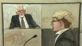 Court drawing of Rolf Harris