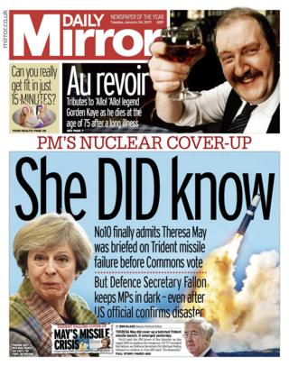 Daily Mirror front