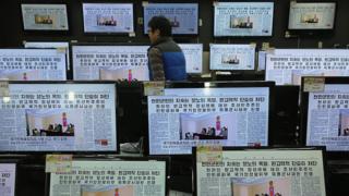 Tienda de televisores en Corea del Norte