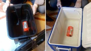 A composite picture made of file handout photographs released on 17 June 2016 by Egyptian Civil Aviation Ministry showing one of the two black boxes from the EgyptAir plane that crashed in the Mediterranean after the two devices were retrieved.