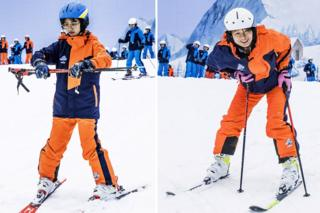Portraits of young women skiers