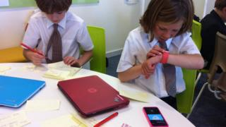 Students learning using smart devices