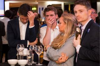 Remain supporters react to EU referendum results