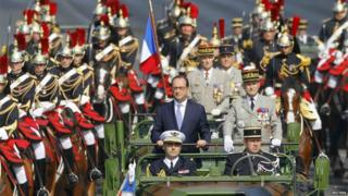 Francois Hollande reviews troops on Champs Elysees (14 July)