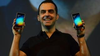 Vice President of Xiaomi Global, Hugo Barra gestures during the launch of Xiaomi's Mi4i smart phone in New Delhi on April 23, 2015