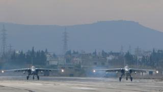 Russian Su-25 bombers in Latakia