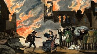 Depiction of the Great Fire of London, 1666